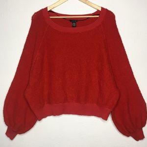 RUE21 Bishop Sleeve Dolman Sleeve Crop Sweater